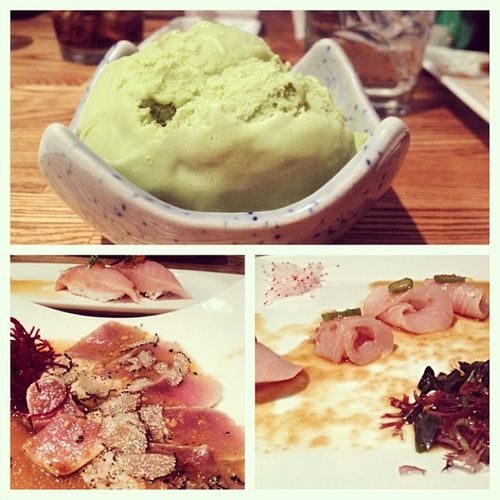 Dinner w le father ?? Sushi Albacore Katsuya Truffle GreenTea picstitch