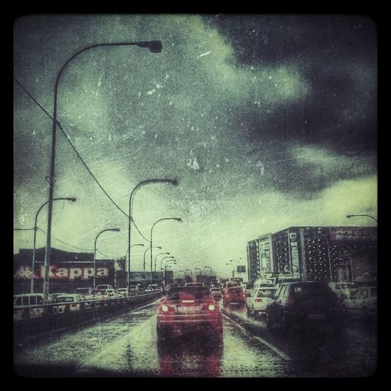 Driving in the rain. Rain Road Cloud Grunge lights car