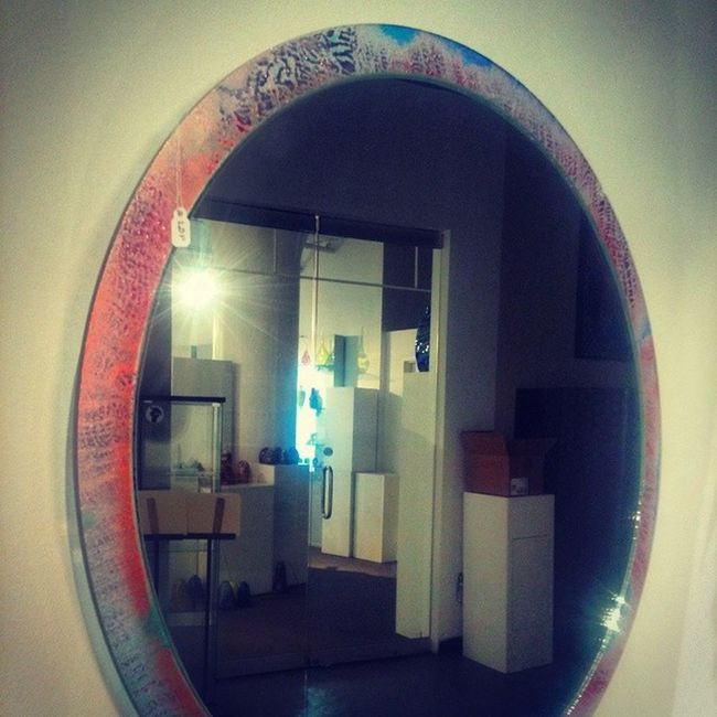 My Recycled DichroicRing Framed Mirror at FlameRun, its called PerfectlyBroken. FusedDichroicGlass snakeskin texture. Glassworks Buylocal Awesome LouisvilleArtist Art Glassart