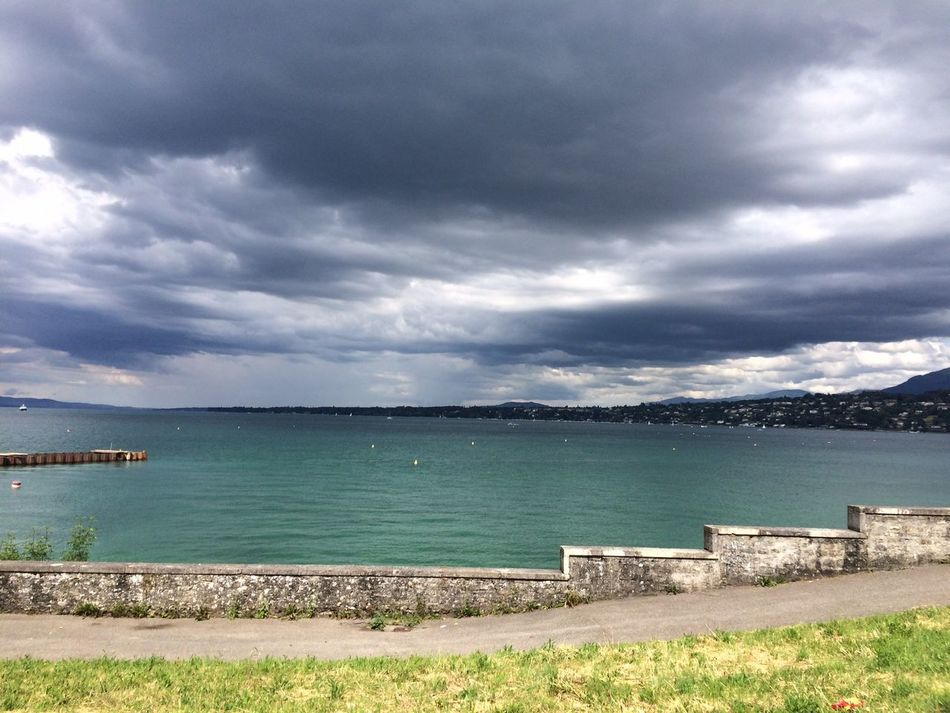 Beach Beauty In Nature Cloud - Sky Day Geneva Geneva Lake Horizon Over Water Nature No People Outdoors Sand Scenics Sea Sky Storm Cloud Tranquil Scene Tranquility Water Weather