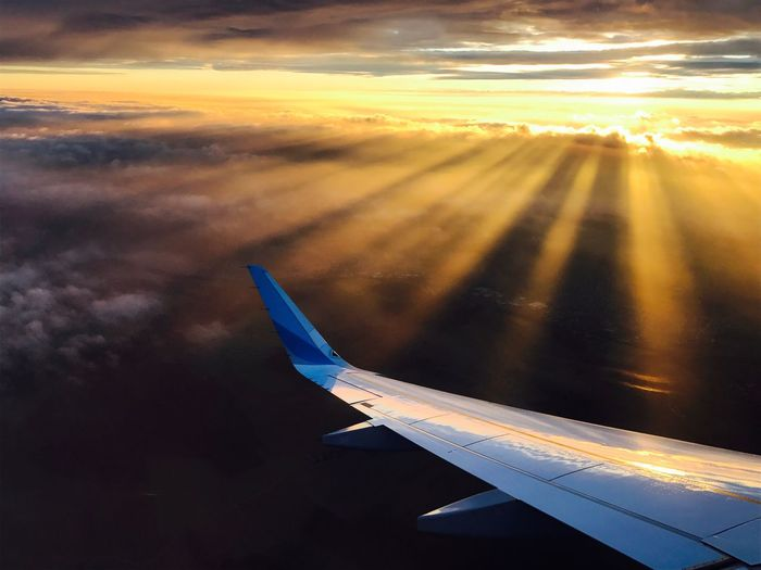 Sunset Airplane Airplane Wing Transportation Journey Cloud - Sky Sky Sunset Scenics Aerial View Travel No People Flying Sun