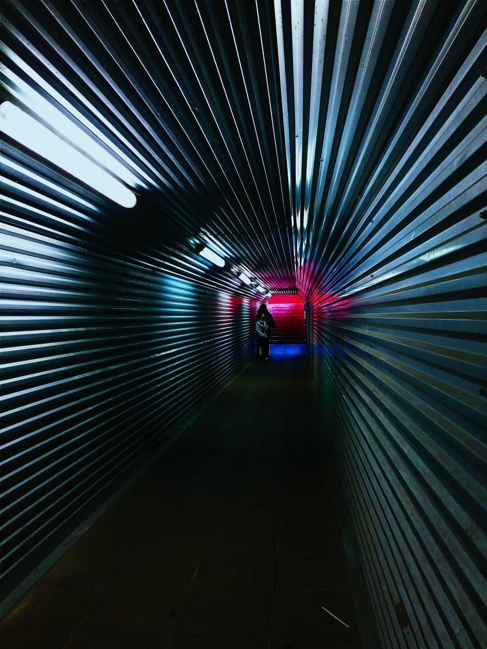 indoors, the way forward, tunnel, built structure, corrugated iron, illuminated, architecture, no people, day
