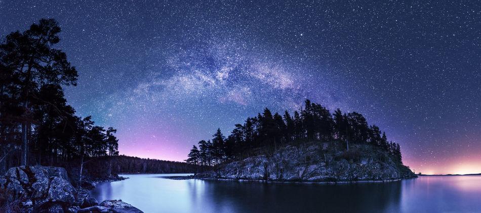 Bend. Astronomy Lake Lake View Milky Way Night Panorama Pentax PENTAX K-1 Sea Sea And Sky Serenity Sky Sweden Vättern