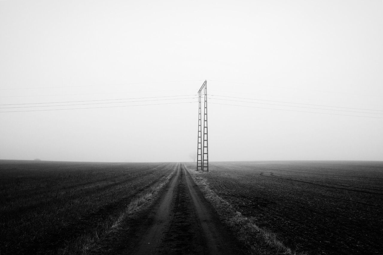 Electricity Pylon Power Line  Landscape Tranquility Darkness And Light Monochrome Black And White Fog Bw_collection Shootermag