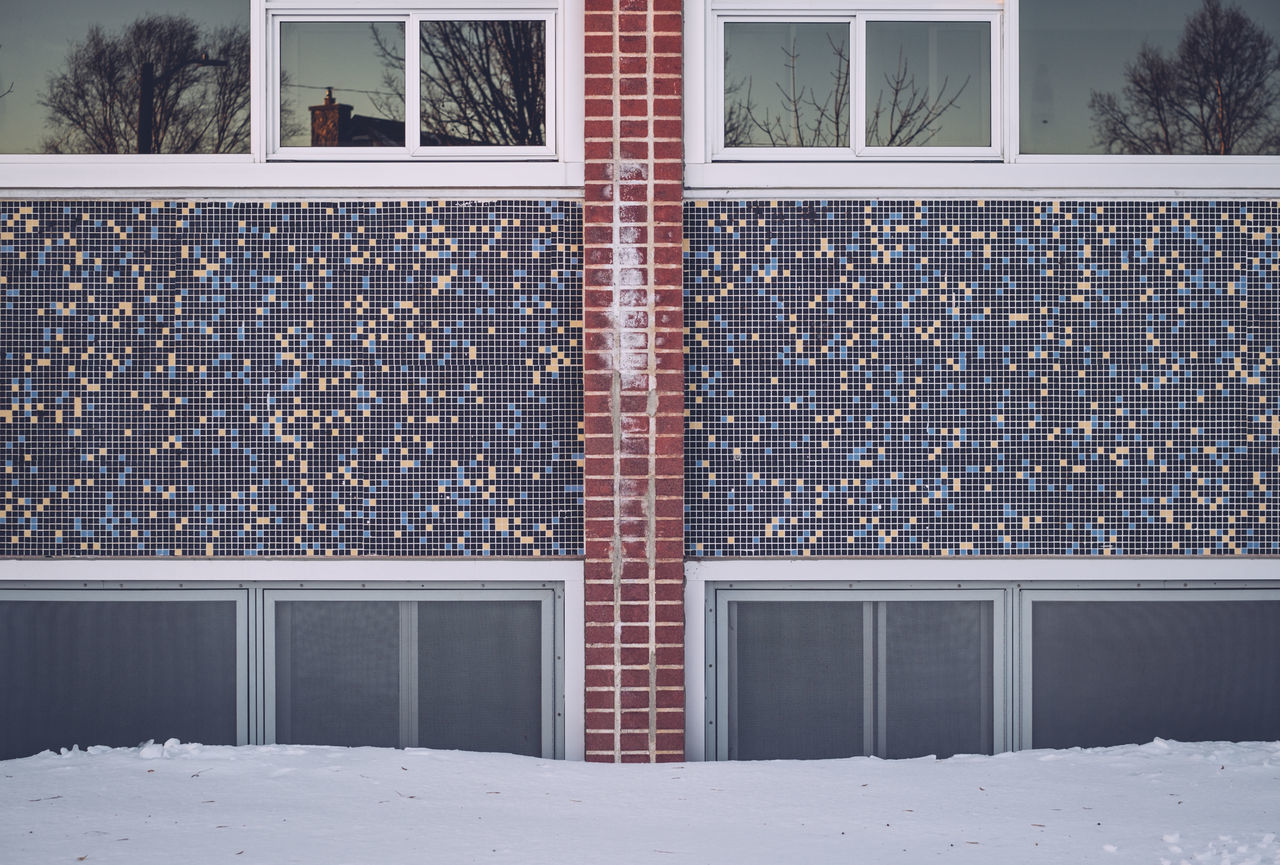 Architecture Brick Wall Building Exterior Built Structure Day Mosaic Mosaic Tiles Outdoors Snowy Day Symetrical Symmetry