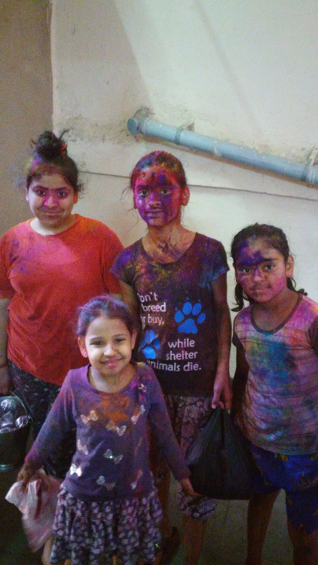 Lifestyles Indoors  Portrait Home Interior Front View Men People Adult Adults Only Day Girls Holi Festival Coloured Girls Playing With Colours