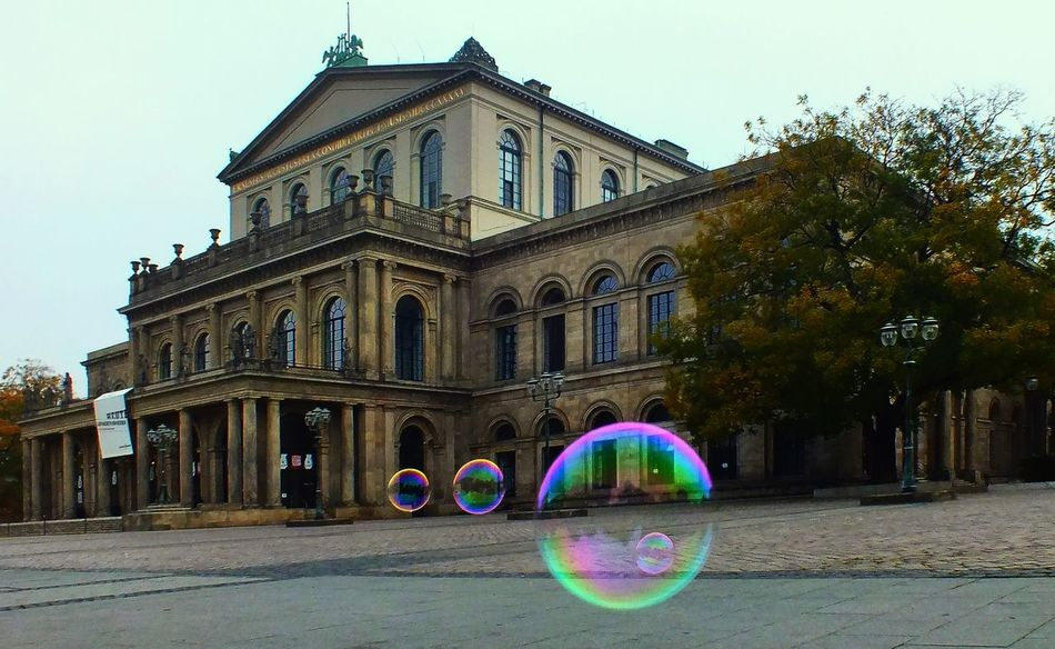 Hannover Opera with soap balls Bubble City, Color Culture Hannover Historic Opera House Soap Bubbles