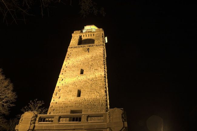 Architecture Astronomy Bell Tower Bell Tower - Tower Bismarckturm Building Exterior Built Structure Clear Sky Clock Clock Face Clock Tower Eschwege History Low Angle View Night No People Outdoors Place Of Worship Religion Sky Spirituality Time Tower Travel Destinations Vertical
