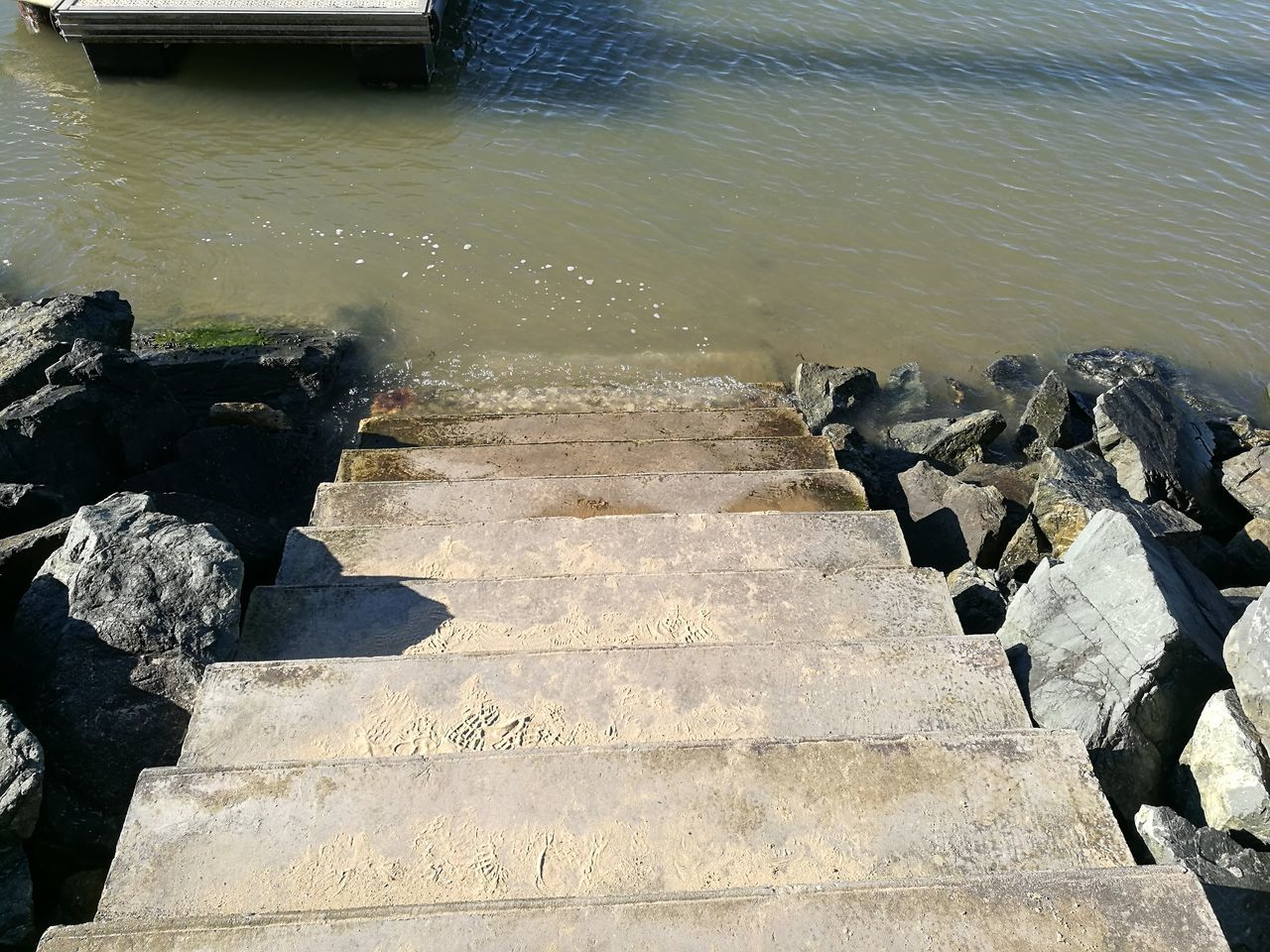 Water No People Stairs Sea Ponton Rocks In Water