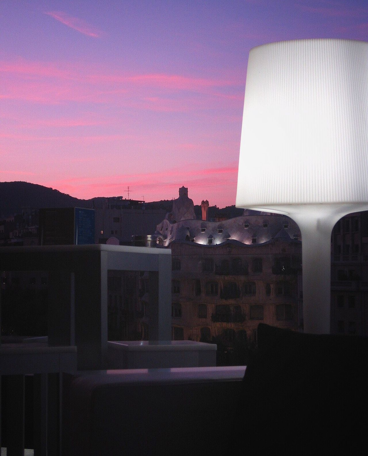 The City Light Architecture Building Exterior Lamp Light Sky And Clouds Purple Sunset Evening No People Gaudi Modernismo La Pedrera, Casa Milá View From The Window... Barcelona SPAIN España