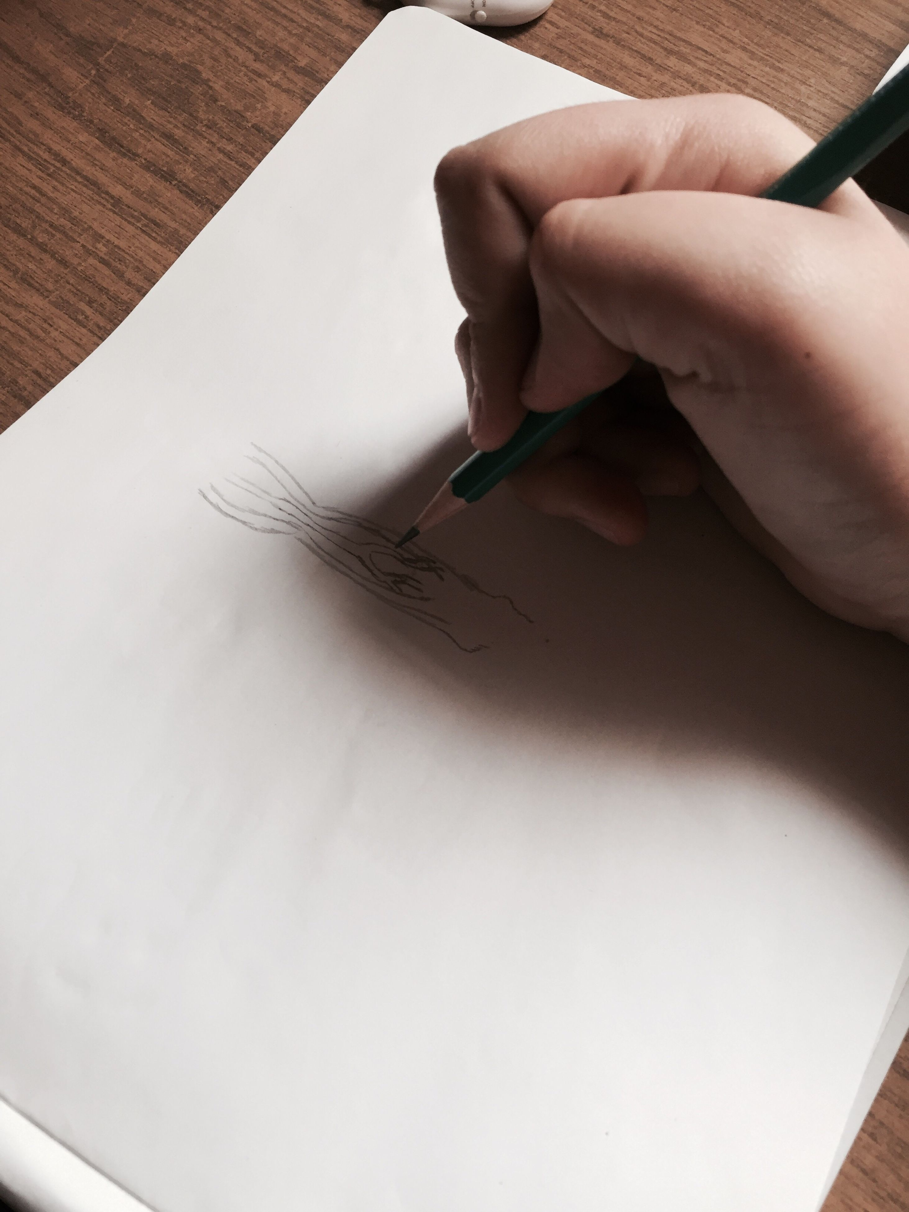 paper, real people, human hand, indoors, one person, close-up, drawing - activity, pencil drawing, human body part, day