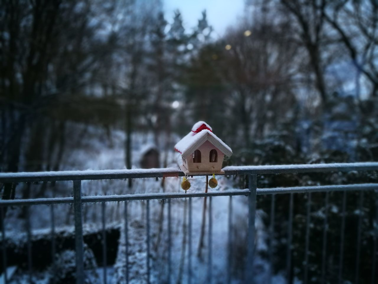 snow, tree, winter, cold temperature, nature, focus on foreground, day, outdoors, snowman, no people, sky