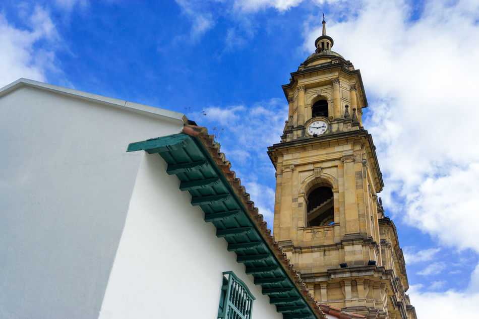 Looking up at the cathedral in Bogota, Colombia America Architecture Bogotá Building Candelaria Capital Church City Colombia Colonial Colors Cundinamarca Destination Downtown Façade Historic House Landmark Old Outdoors South Street Traditional Travel Urban