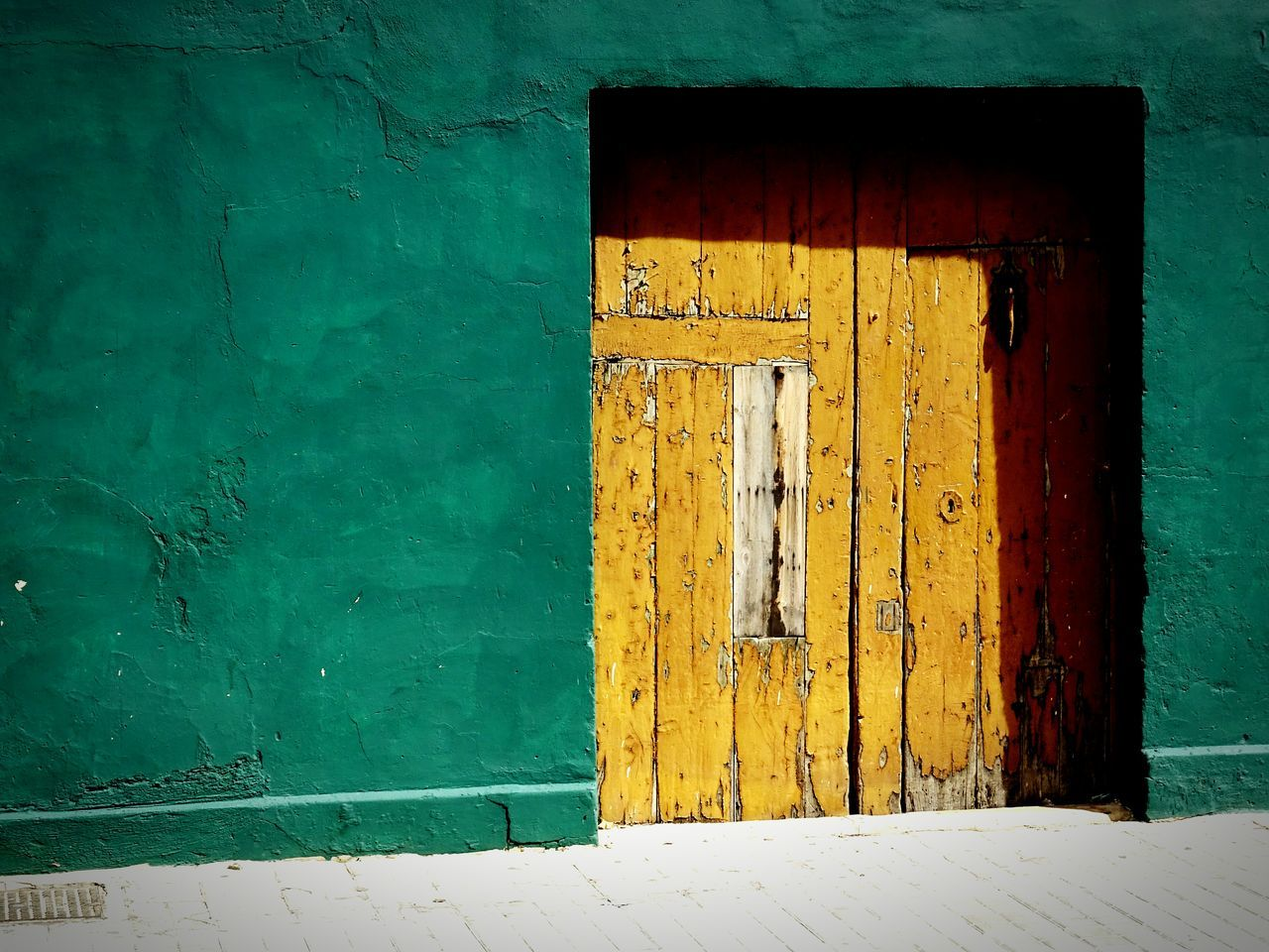 Door Architecture Built Structure Building Exterior Close-up Day No People Outdoors Minimalist Architecture The City Light Green Wall Yellow Door Old Town Old Door Sunlight And Shadow