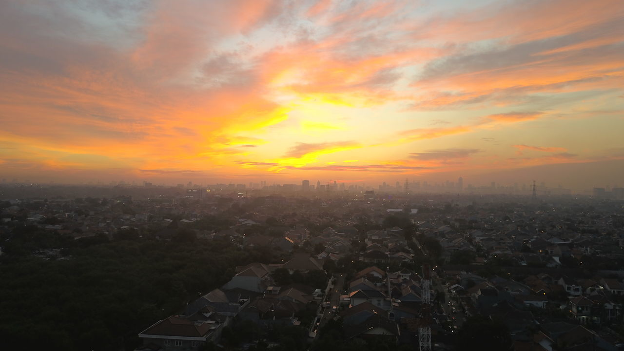Jakarta from the East Sunset Dramatic Sky City Cityscape Cloud - Sky Skyscraper Sky Dronephotography Droneart Droneporn Droneshot Downtown District High Angle View Urban Skyline No People Fog Illuminated Night Outdoors Drone  Top View