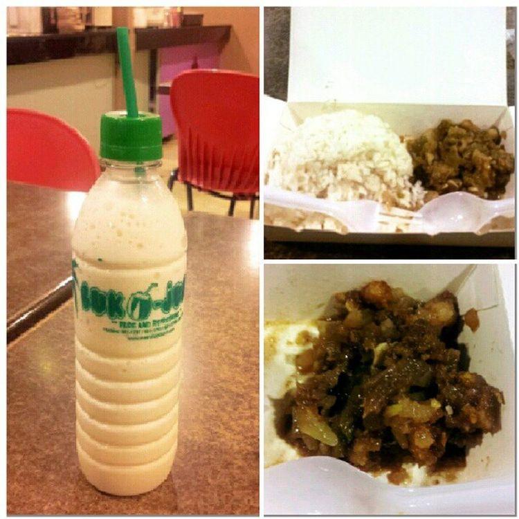 Midnight lunch @ work. Instant Porksisig Bukojuan Coconutshake foodie