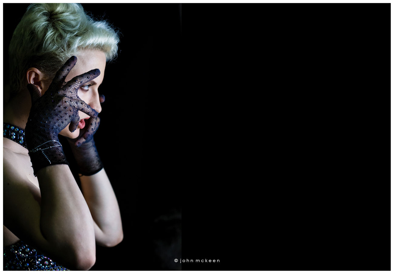 When Ready, Click Black Background Blonde Blonde Hair Elégance Film Noir Film Noir Style Glamour Lowkey  Lowkey Photography Model Model Shoot Modeling Noir One Person People Portrait Portraiture