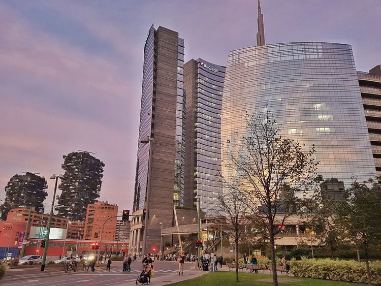 Milan Italy fashion downtown sunset Skyscraper Architecture Sky Built Structure Travel Destinations Building Exterior City Modern Large Group Of People Outdoors Day Urban Skyline People