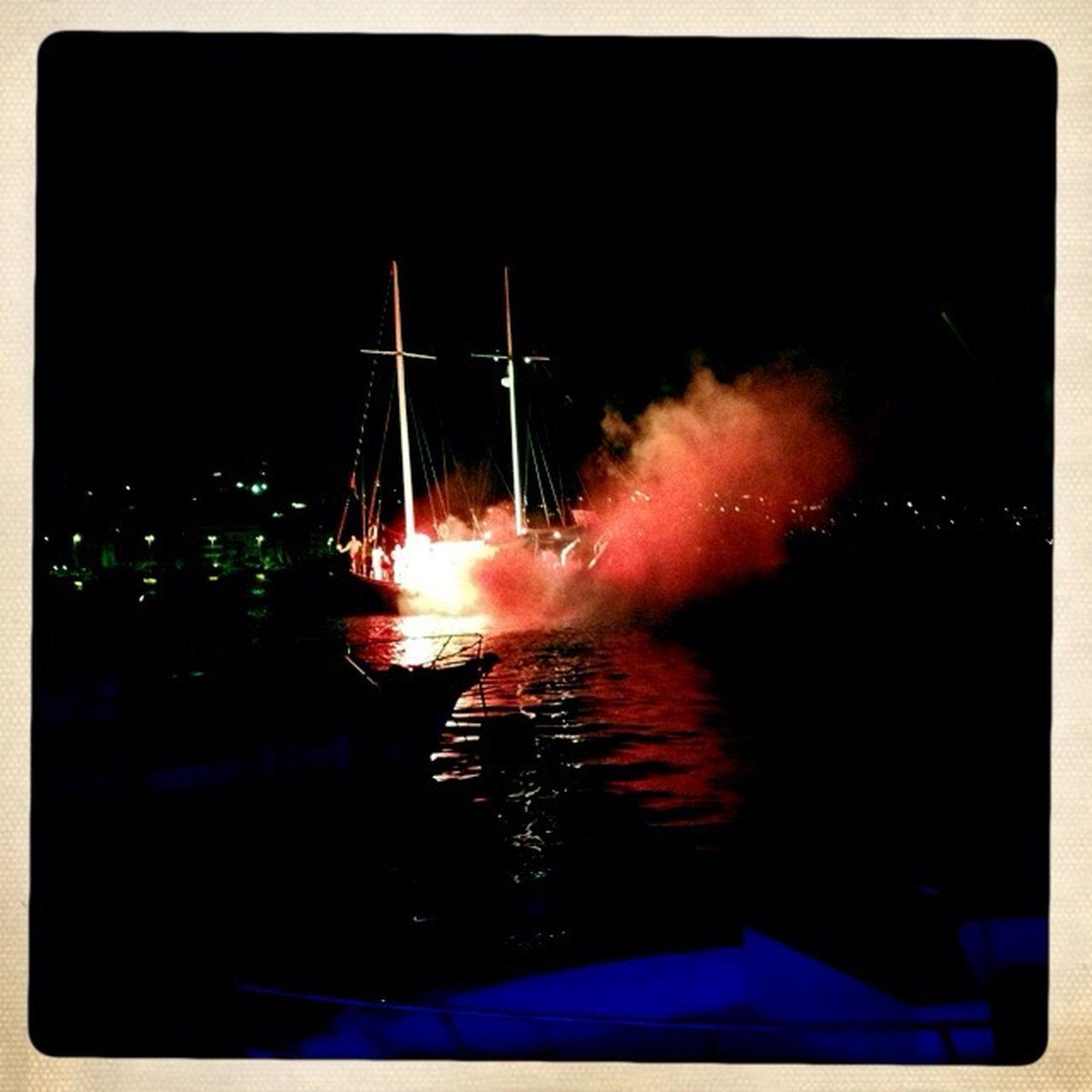 Boat In Fireworks
