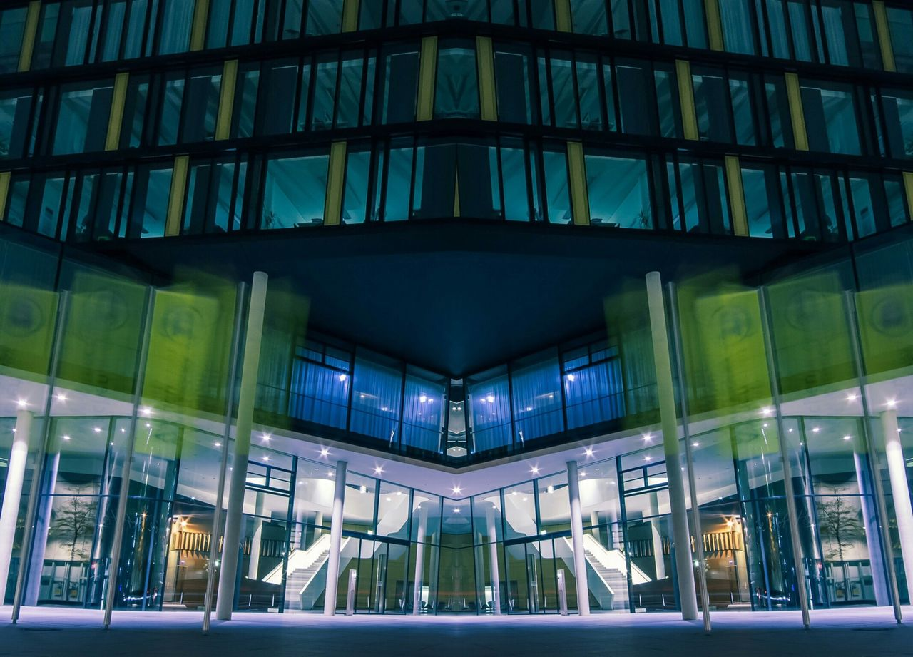 glass - material, architecture, built structure, window, illuminated, building exterior, modern, reflection, night, no people, indoors, city