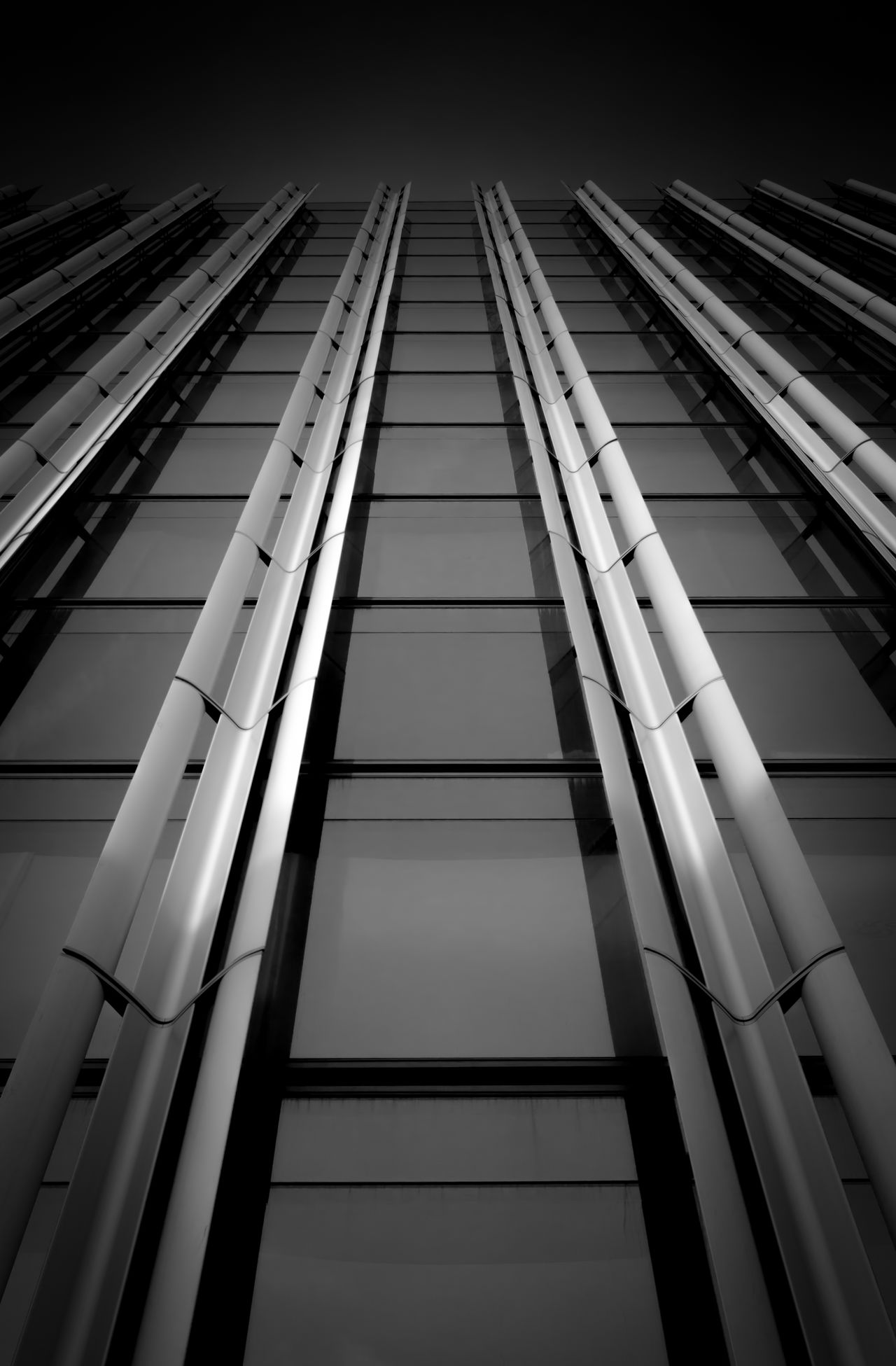 Architecture City Built Structure Low Angle View Symmetry No PeopleSymmetrical Fine Art Photography Window Windows Contrast Black & White Bnw Parallel Lines Light And Shadow Monochromatic Shadows & Lights City London Lights And Shadows Blackandwhite Photography Office Building Glass Looking Up Lookingup