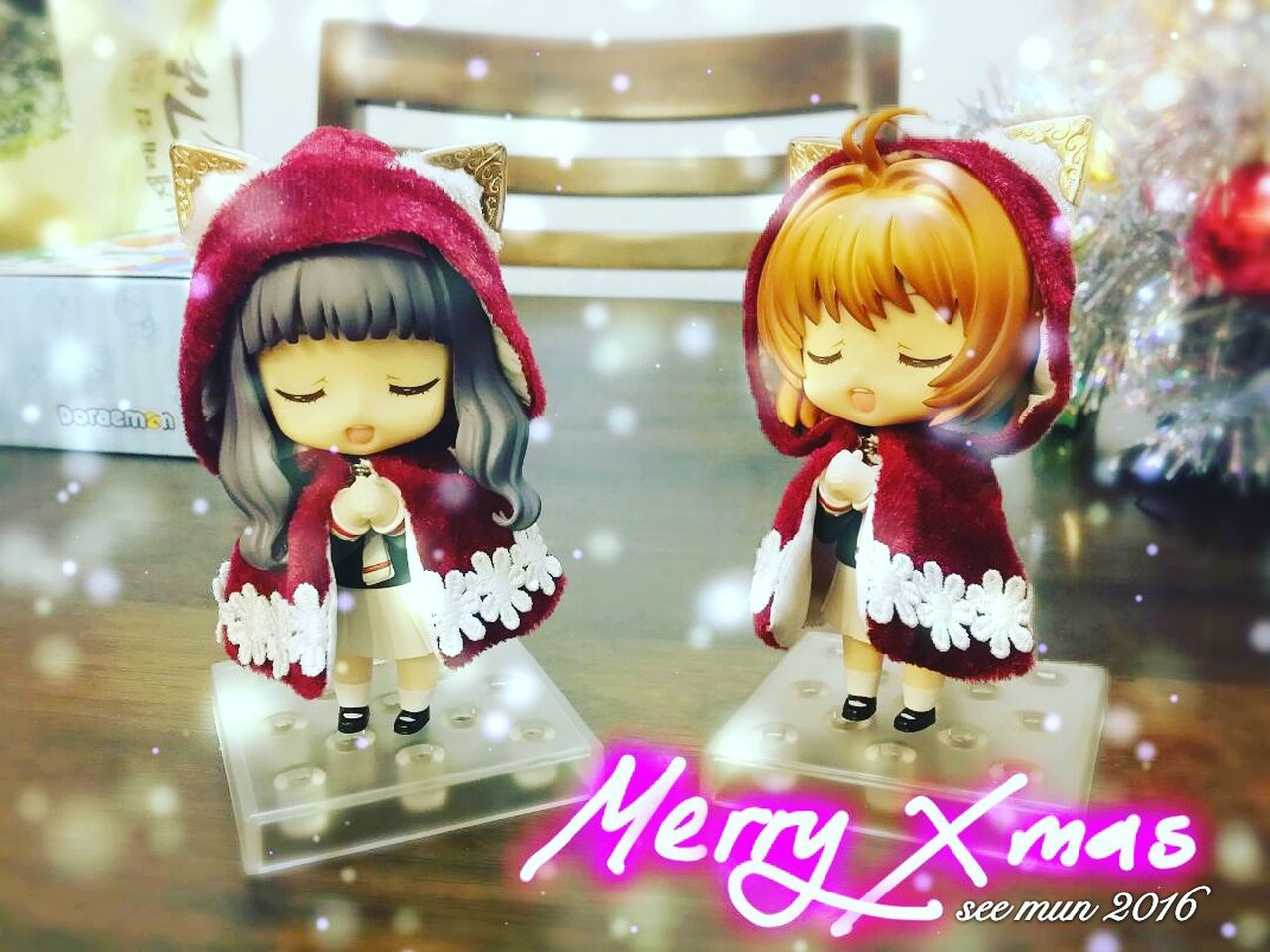 Christmas Nendoroid Nendophotography Nendoroidphotography Nendoroids Clamp Sakura Cardcaptorsakura Sakurakinomoto Tomoyo Japan Anime Animation Manga blessing First Eyeem Photo