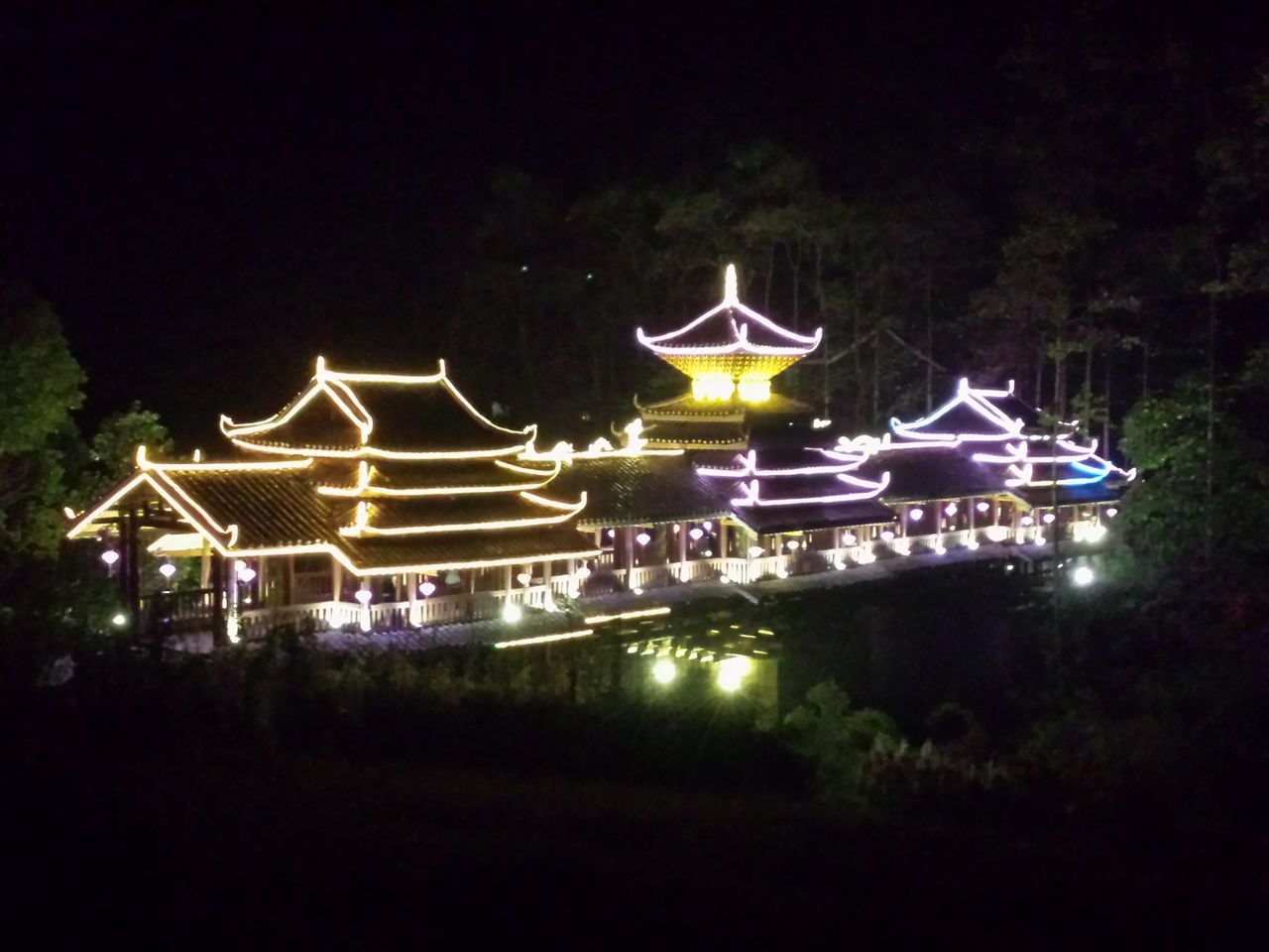 night, illuminated, outdoors, no people, architecture, built structure, building exterior, water, nature, sky, carousel