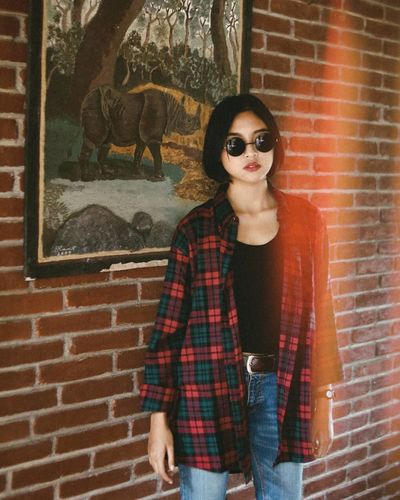 Style of new generation. women around the world Brick Wall Adult People Only Women One Person Portrait Young Adult Young Women One Woman Only One Young Woman Only Standing Fashion Stories EyeEmNewHere