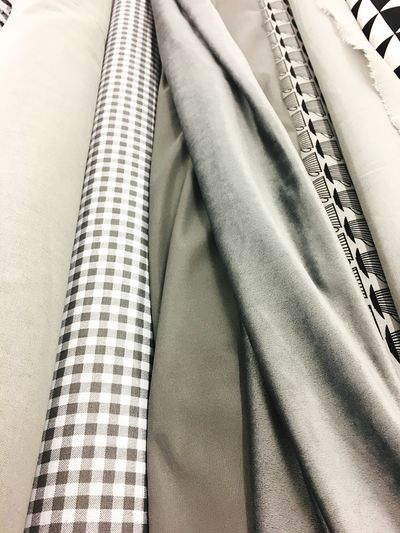 Textile Indoors  No People Clothing Close-up Day Rolê Material Rippled Wavy Material Bales Sew Home Work Do It Yourself Hand Made Silk Satin Cut Store Design Gray