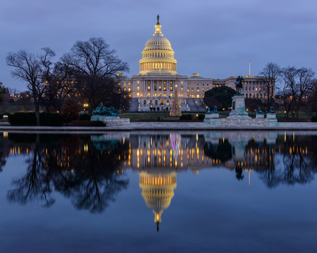 The National Christmas Tree in Washington, DC Christmas National Christmas Tree 2017 US Capitol Building Architecture Building Exterior Built Structure Christmas Tree City Dome Government Illuminated No People Outdoors Reflections Sky
