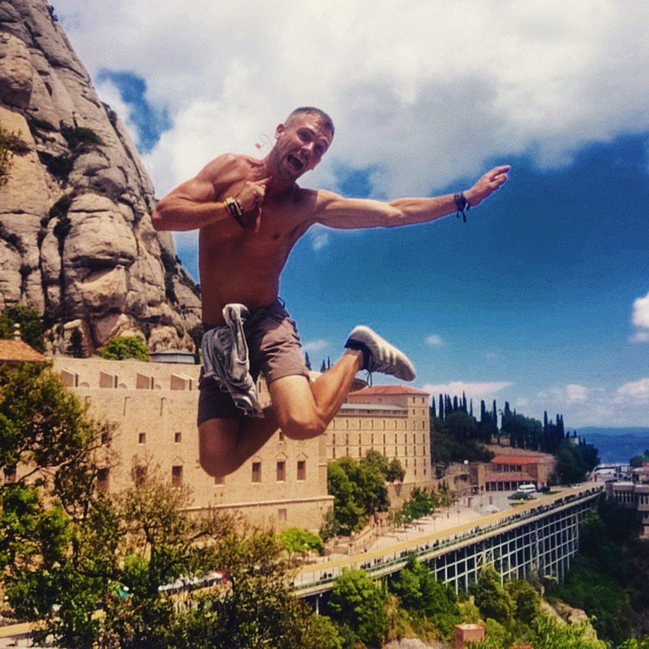 GettingHigh Travellingeveryday Romanticadventures 2ndDate Jump Jumping Jumpshot Love Adventure Explore Conquer Travel Instagood Lovesundays Newadventureeveryday LovingLife Montserrat Catalonia Europe SPAIN Cool Awesome Catholic Historic Cathedral religion culture