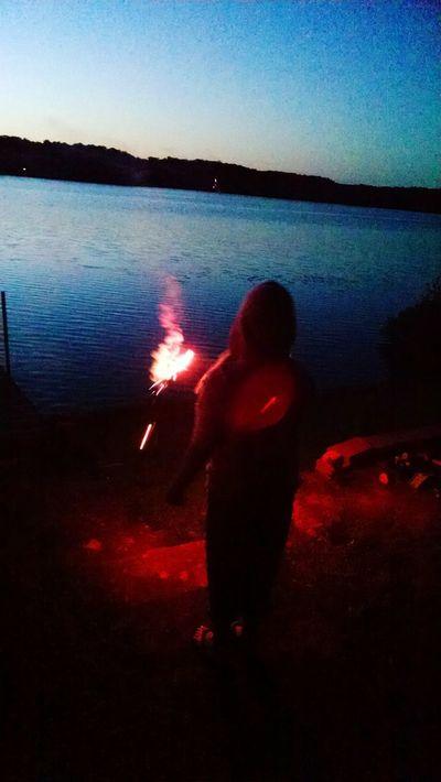 Fourth Of July 🎉 Fourth Of July Sparkler Childhood Lake Sparkler In Hand