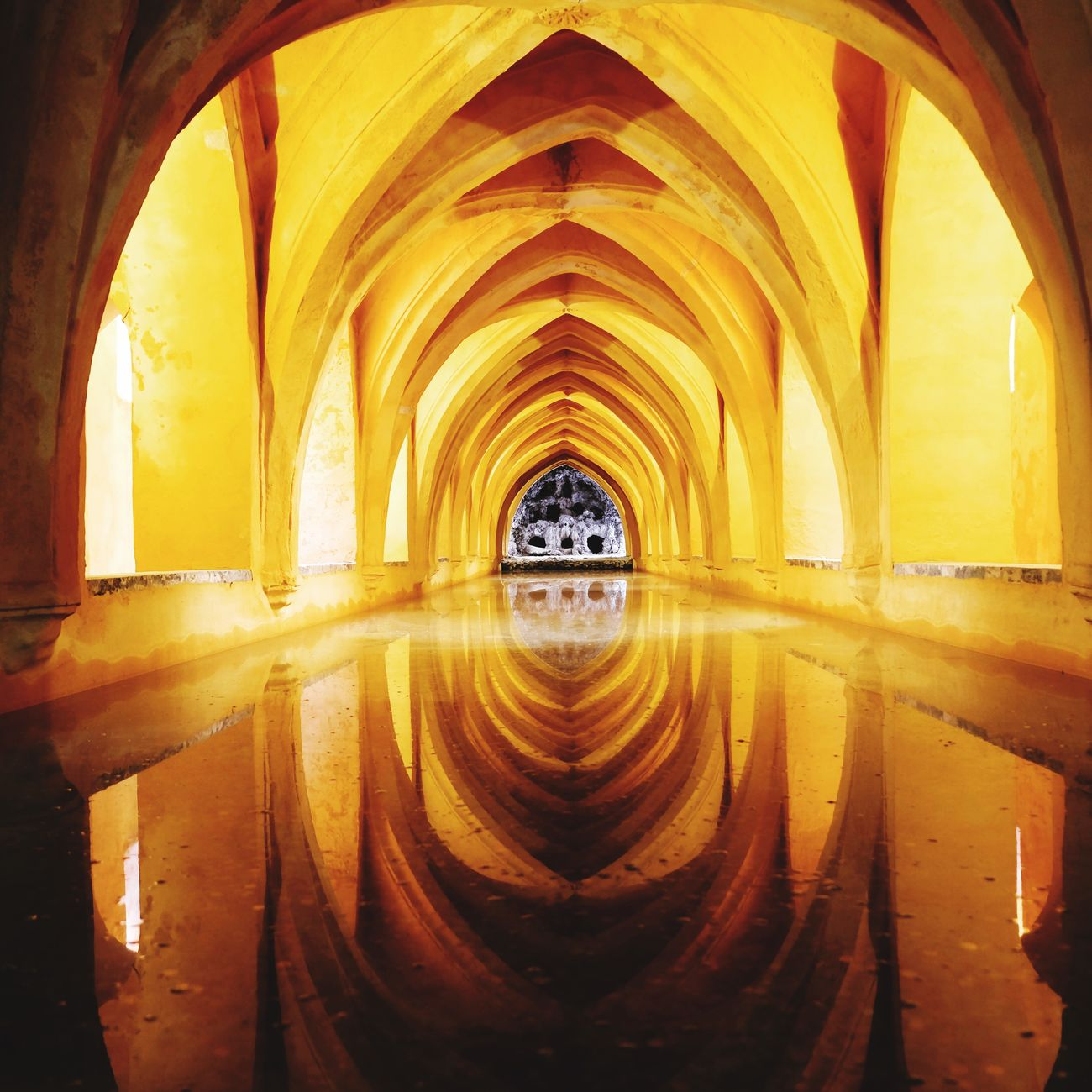 Baths in Alcazar Seville Spain Reflection SPAIN Spain, Andalucia, Malaga Travel Destinations Travel Travelphotography Alcazar The Real Alcazar Photography Photooftheday Photograph Photo Light And Shadow Beautifuldestinations Wonderfulplaces Indoors  Architecture Arch No People Built Structure Day First Eyeem Photo EyeEmNewHere