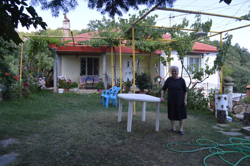 Grandma Greece House Mountains Outdoors Plant Portrait Town Travel Visiting Family Yiayia