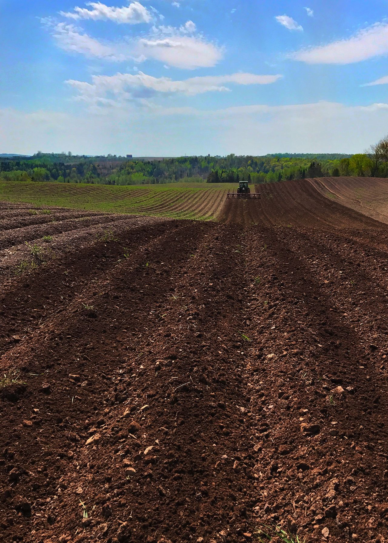 Tractor working in a field. Agriculture Rural Scene Field Landscape Plough Farm Tractor Sky Plowed Field No People Scenics Outdoors Vertical