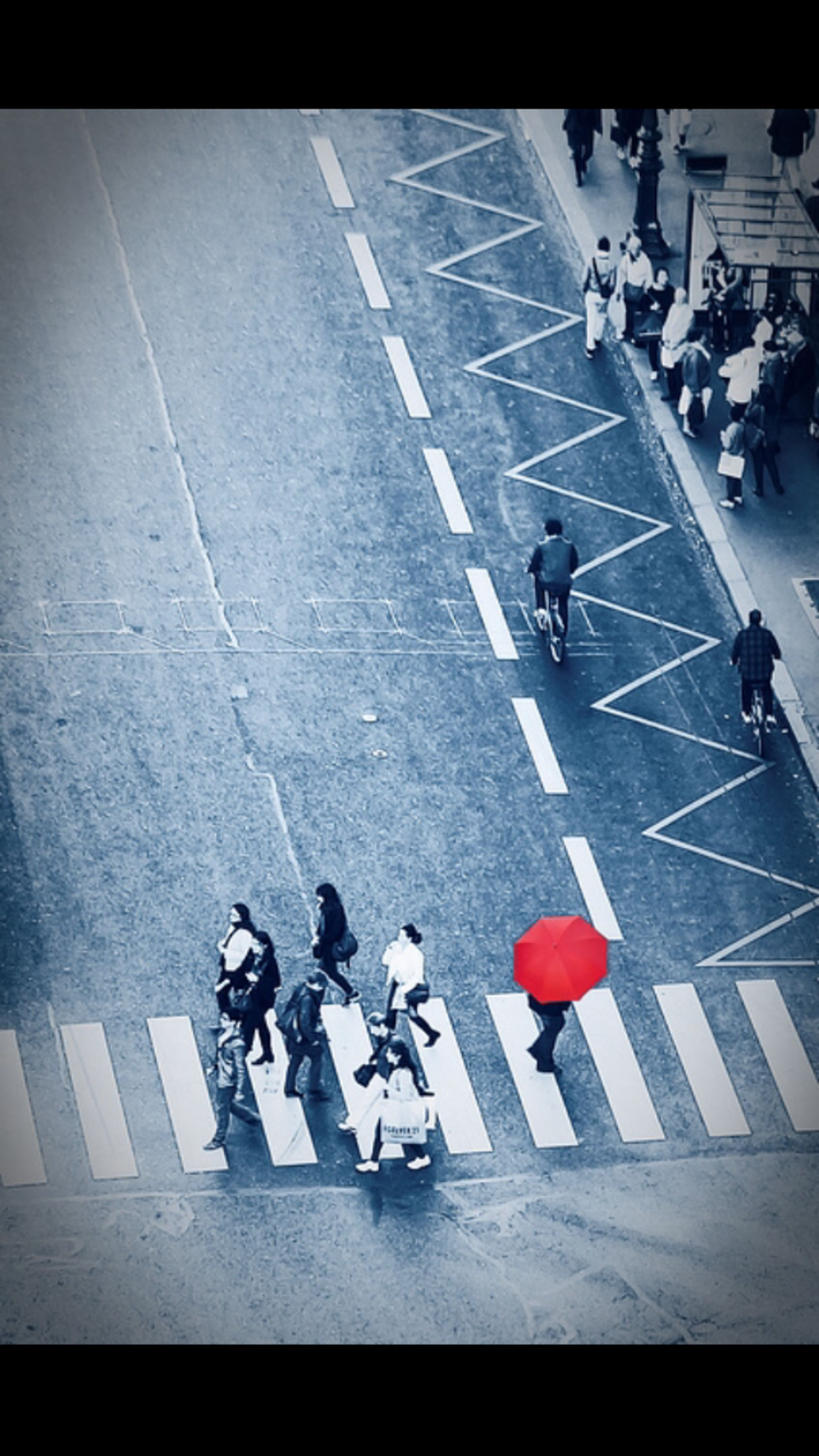large group of people, men, lifestyles, high angle view, person, street, leisure activity, road marking, walking, city life, transportation, zebra crossing, shadow, road, auto post production filter, transfer print, mixed age range, day, sunlight