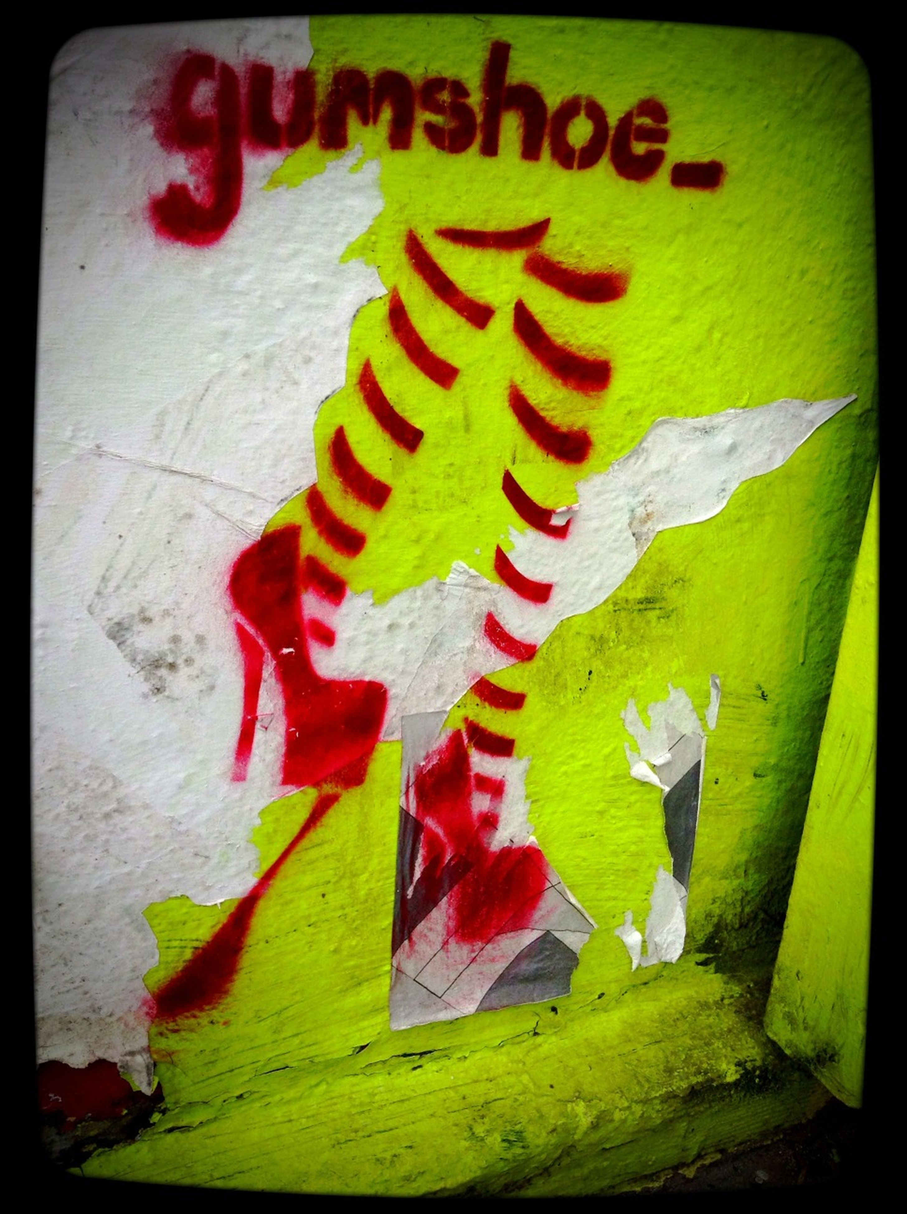 transfer print, text, western script, creativity, multi colored, art, art and craft, auto post production filter, close-up, communication, green color, red, no people, graffiti, day, wall - building feature, outdoors, leaf, flag, animal representation