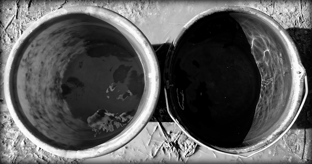 Black & White Black And White Blackandwhite Bucket Buckets Circle Container Directly Above Geomatric Shapes Geometric Shape No People Reflection Round Still Life Two Two Of A Kind Water Water Reflections Learn & Shoot: Balancing Elements The OO Mission