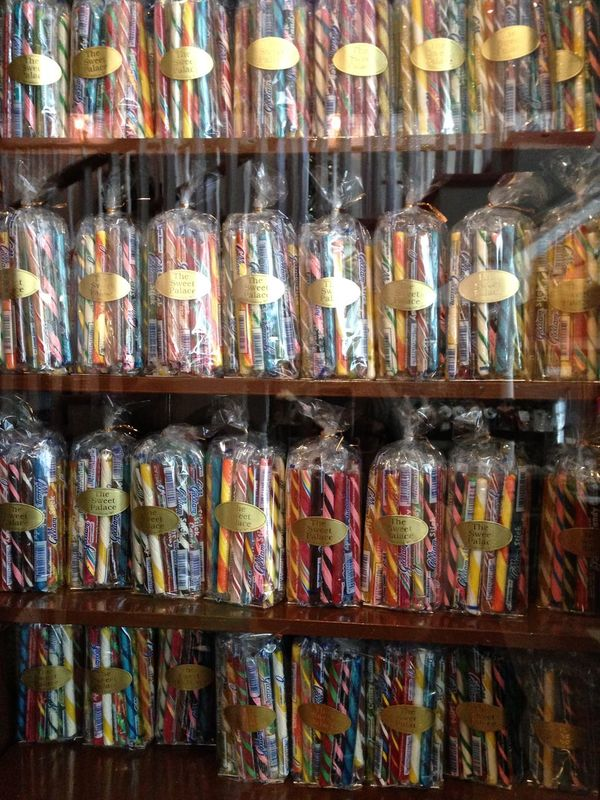 Candy Stick Different Flavours Display Multi Colored Rows Shelves Sweet Shop Variation