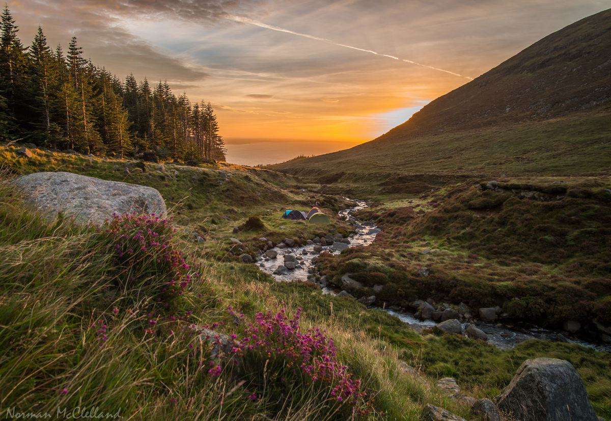 Riverside Campers at Dawn. Camping Camping Out Dawn Dawn Of A New Day Heather Hill Hillside River Riverside Slieve Donard Sunrise Breathing Space