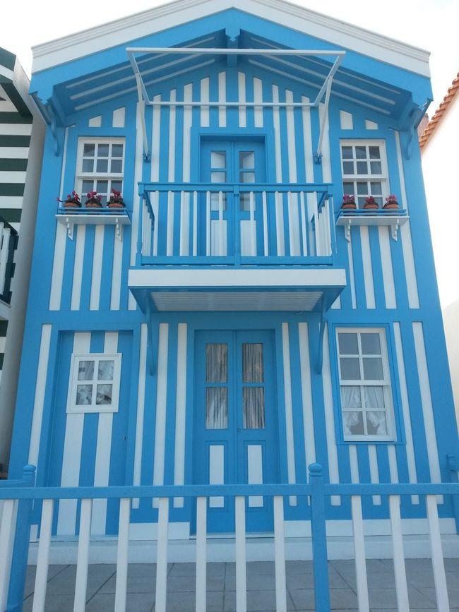 Architecture Blue Façade Building Exterior Sunny Day 🌞 Aveiro, Portugal Houses Costa Nova Houses By The Sea Close-up Architecture