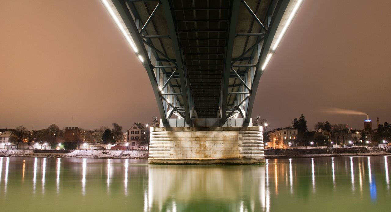 Architecture Bridge - Man Made Structure Brücke Building Exterior Built Structure City Cityscape Illuminated Long Exposure Night Night Lights Night Photography Nightphotography No People Outdoors Reflection Rhein Rheinufer River Sky Travel Destinations Urban Skyline Water Waterfront Winter