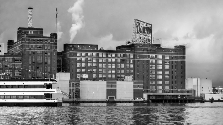 Baltimore Sugar Architecture Building Exterior Built Structure City Cloud - Sky Day Domino Sugar Factory Modern No People Outdoors River Sky Water Waterfront