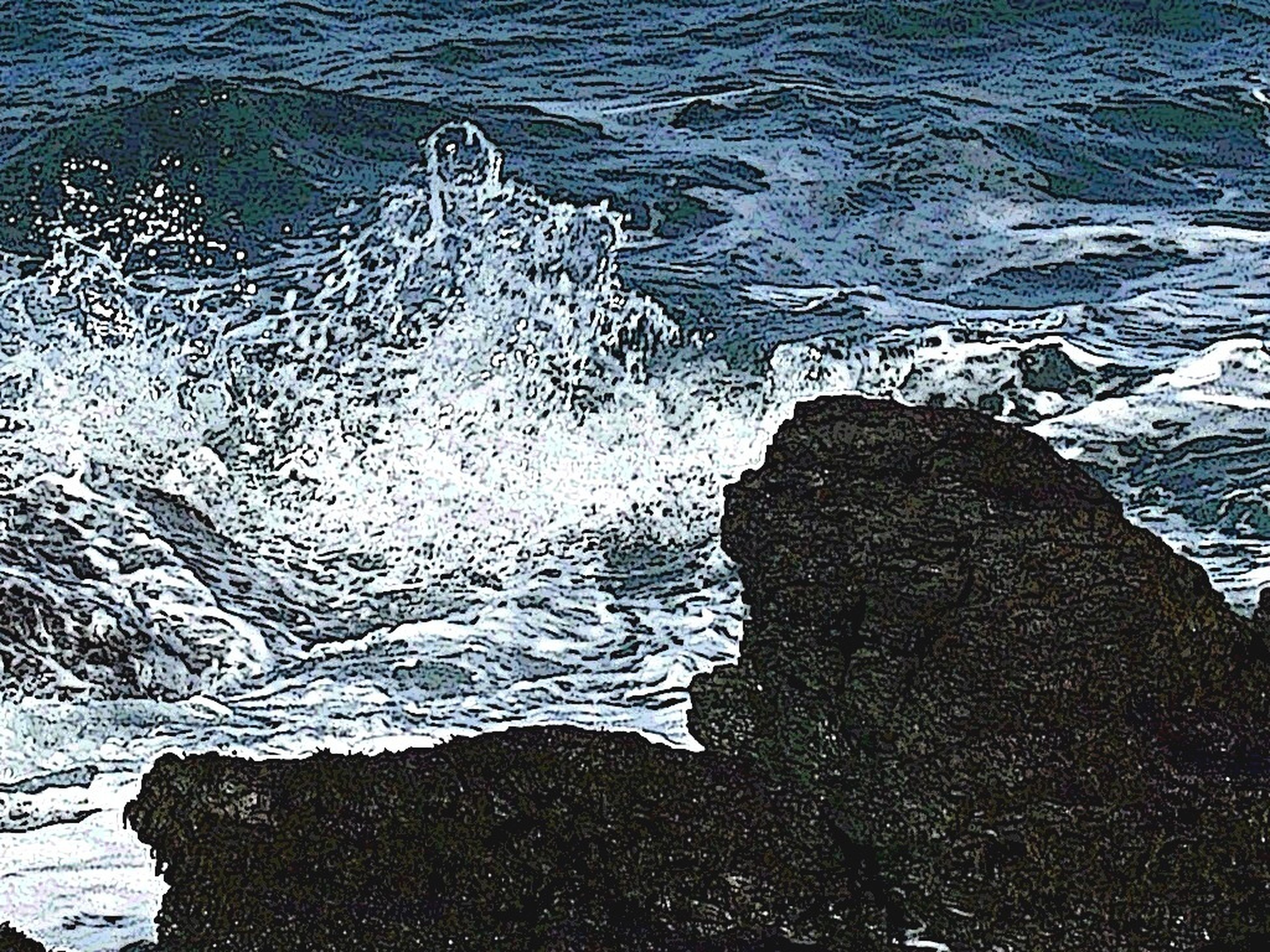 water, sea, wave, rippled, high angle view, surf, splashing, motion, nature, waterfront, beauty in nature, tranquility, day, outdoors, no people, sunlight, full frame, rock - object, scenics, shore