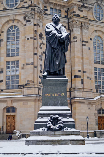 Architecture Building Exterior Built Structure City Day Frauenkirche Luther Martin Luther Medieval Minimalist Architecture No People Outdoors Place Of Worship Sculpture Statue The City Light Town Square Travel Destinations