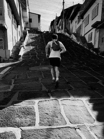 Steep Steep Hill Steep Slope Endurance Jogger Challenge Running Gradient Steep Street San Gil Colombia Out Of Breath Hard Work Runner Fitness Break The Mold The Street Photographer - 2017 EyeEm Awards The Street Photographer - 2017 EyeEm Awards