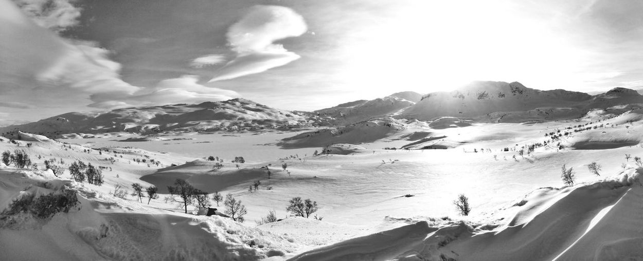 Panorama Landscape Norway Blackandwhite