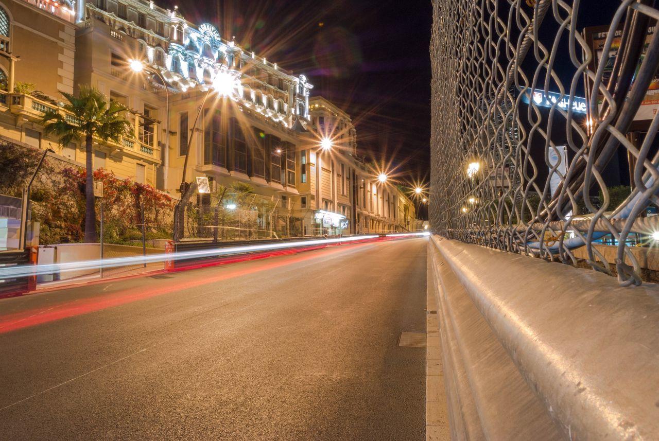 Illuminated Night Transportation Speed Light Trail No People Motion Long Exposure Architecture Road City Built Structure Building Exterior Outdoors High Street MonacoGP Monaco City 😍 Monaco
