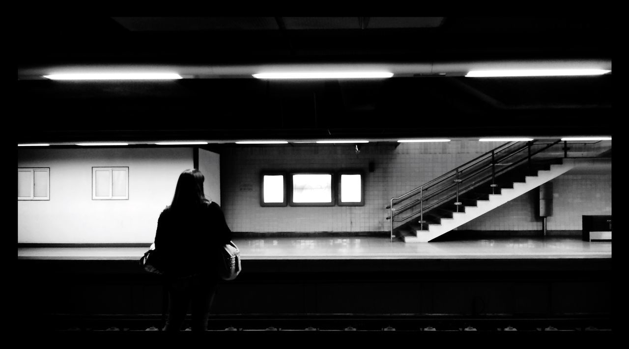 Waiting Silhouette Woman Metro Metro Station Black&white Urban Geometry Minimal Straight Lerone-frames Wrinkles Of The City  Architecture_bw Blending Into The City Lines Lights Light And Shadow Portrait Of A Woman Blackandwhite Underground Notes From The Underground One Person A Moment Of Zen... Schattenspiel  Best Of Stairways Best Of Stairways