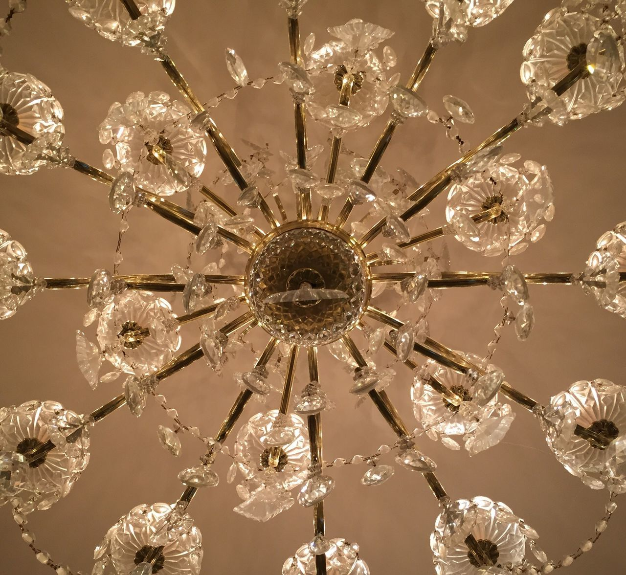 low angle view, hanging, ceiling, decoration, lighting equipment, crystal, electricity, no people, illuminated, indoors, close-up, day